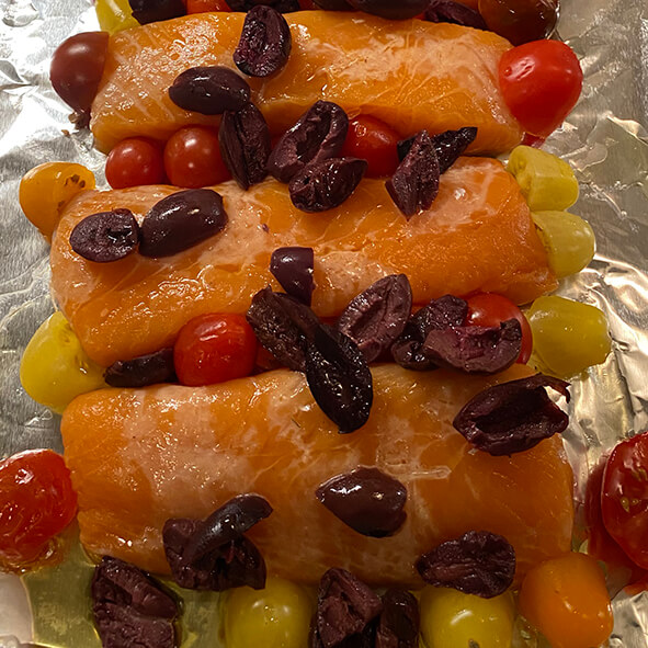 Robert's Salmon with Tomatoes & Olives